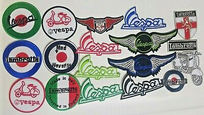 Lambretta Mod Vespa embroidered iron on sew on badges patches Motorcycle bikers