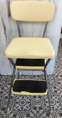 Vintage Cosco Midcentury Yellow and Cream Kitchen Step Stool Chair Flip up Seat