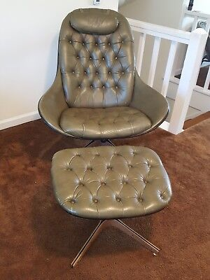 1960's Danish Modern Swivel Chair with Ottoman, Used, Green, Excellent Condition