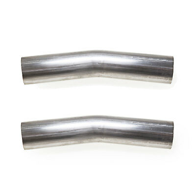 """3"""" 304 Stainless Steel 15 Degree Mandrel Bend Pipe Exhaust 16 Gauge USA (2 Pack)"""