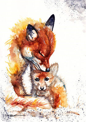 Foxes ,Print of Original Watercolour Painting by Be Coventry wildlife art