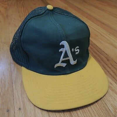 official photos ab238 952e9 Oakland Athletics As Vintage Snapback Hat Green Yellow MLB Trucker Cap Twins  Ent