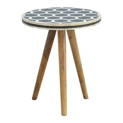 Bone Inlay Monochrome Geometric Three Legged Tripod Milking Stool / Side Table