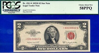 FR-1511* 1953-B $2 US Note (( STAR )) PCGS About-New 58PPQ # *03130602A