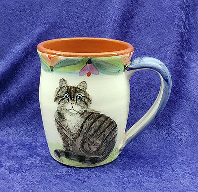 Tabby Cat Handpainted Coffee Cup Collectible Kitty Red Clay Mug