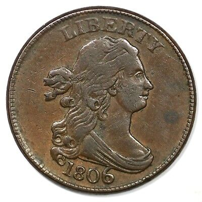 1806 C-4 Large 6 w/ Stems Draped Bust Half Cent Coin 1/2c