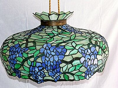 """Stained Glass Hanging Ceiling Lamp Grapevine Breeze Motif 28"""" x 14"""""""