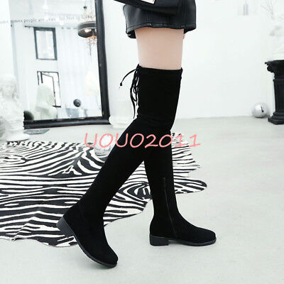 54e355bf279 SIZE 4-11 CASUAL Over The Knee Boots Flats Heel Womens Side Zipper Buckle  Shoes -  35.59
