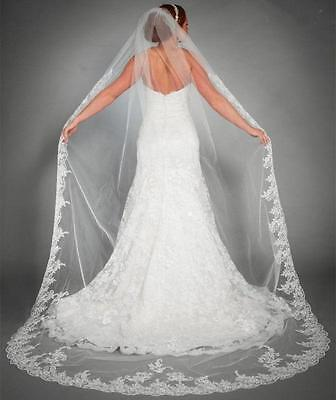 New 1 Layer White/ivory Bridal Cathedral Veil Lace Edge Bridal Wedding With Comb
