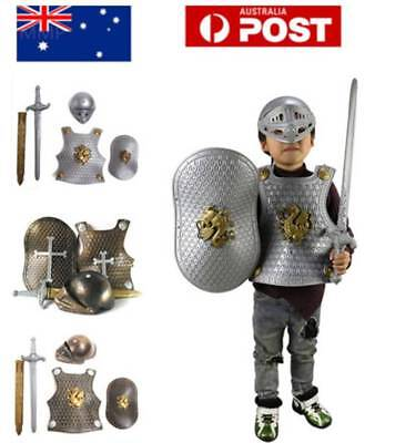 AU! Boys Medieval Armoured Knight Costume Child Suit Armour Fancy Dress Book Day