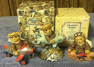 Cherished Teddies Lot Of 3 Pilot Airplane Themed Bear Figures