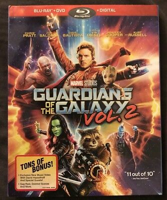 Marvel's Guardians Of The Galaxy Vol 2 Blu Ray + Dvd 2 Disc Set With Slipcover