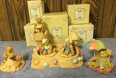 Cherished Teddies 5 Summer Beach Sand Castle Themed Figures And Displayer