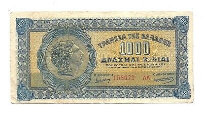 Greece 1000 Drachmai 1941 at (F-VF) Condition Banknote P-117