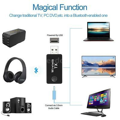 USB Bluetooth Stereo Music Transmitter Wireless Audio Adapter For TV MP3 PC T7B4