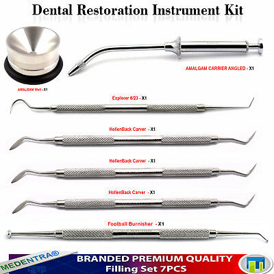 7PCS Restorative Filling Amalgam Mixing Well Hollenback Carvers Ball Burnishers