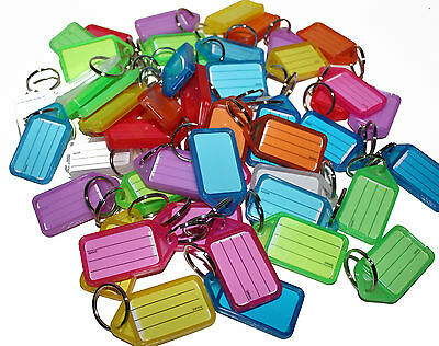 50 x Key Tags MIXED. Bulk colour ID keytag key ring labels keyring Plastic