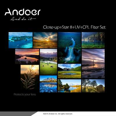 Andoer 4IN1 58mm UV CPL Close-Up+4 Star 8-Point Polarizer Kit filtro cámara Q4R4