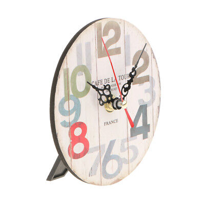Vintage Wooden Wall Clock Round Desk Table Clock Antique Home Decor 5#