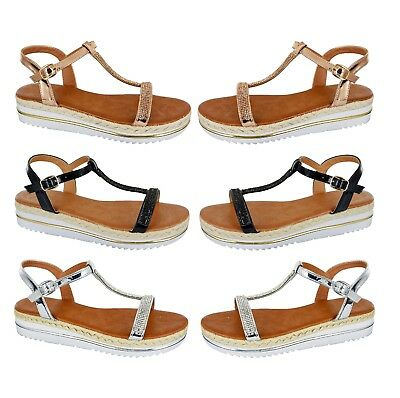 Womens Beach Holiday Slip On Espadrilles Ladies Summer Comfy Low Heel Shoes Size