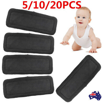 5/10/20X 4 Layers Washable Bamboo Charcoal Fiber Cloth Nappy Insert Diaper Eager