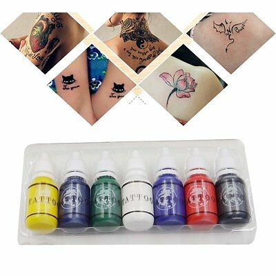 7 Colors Bottles Ink Pigment Set Kits Body Arts Tattoos Permanent Makeup EY