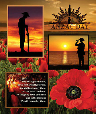 Anzac Day Remembering Day Cotton Quilting Fabric Panel