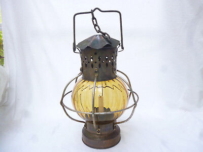 ANTIQUE INDUSTRIAL STYLE CAGED CANDLE HURRICANE LANTERN - 33cm high
