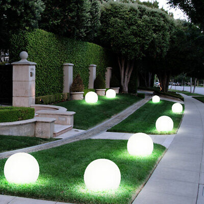 Set Of 8 LED Solar Lamps Ball Design Garden Path Outdoor Area Plug Lights  Modern