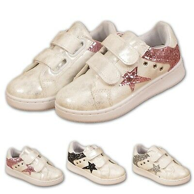 Kids Girls Infants Glittery Trainers Childrens Sports Tennis Shoes Sneakers Star