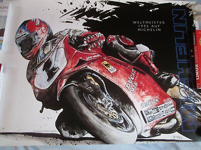 Ducati 916 Carl Fogarty Worldchampion Superbike 1995 Kunstdruck NEU