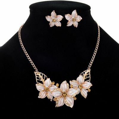 Zinc Golden 4 Color Jewelry Set Necklace Earrings Flower Crystal Fashion Women