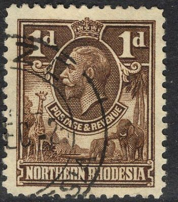 NORTHERN RHODESIA SG2 1925 1d BROWN USED