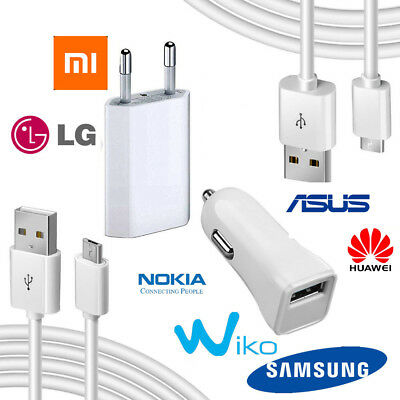 Kit Micro Usb / Tipo C Caricabatterie 3 In 1 Per Samsung A7 2018 / P Smart 2019