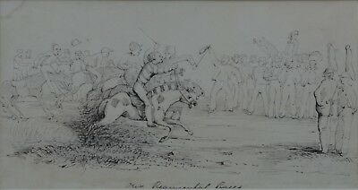 "19th Century English School Pen and Ink drawing ""Our Regimental Races"""
