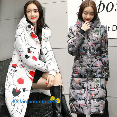 Women Fashion Coat Slim Lady Hooded Jacket Print Length Thick Warm Winter Coat