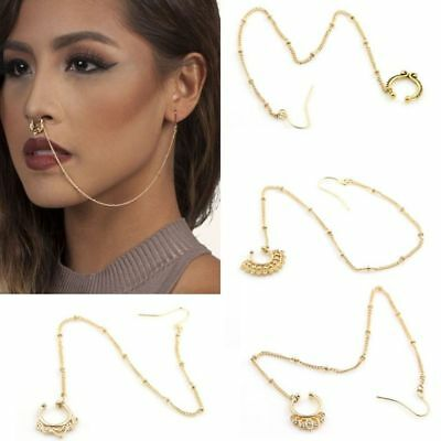 Fake Crystal Clip On Ring Piercing Jewelry Nose Earring Chain Set Septum
