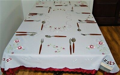 "Oblong Polyester Cream Embroidered With Burgundy Flowers Table Cloth 50"" X 70"""