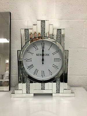 Art Deco Sparkle Crystal Mirrored Freestanding Mantel Table Carriage Clock