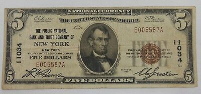 1929 $5 Five Dollar Public National Bank New York National Currency FR# 1800-1