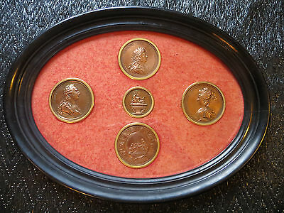 FRENCH ROYALTY 19th c FRAME bronze MEDALS Louis XIV, Louis XVI,Marie-Antoinette