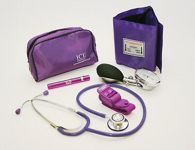 Purple Blood Pressure Sphygmomanometer Stethoscope Penlight Tourniquet GP - ICE