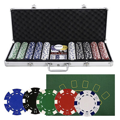 Lot 500 Poker Chips Set Aluminum Case 14g Clay Cards Dices - Holdem Casino Poker