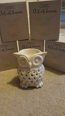 White Owl Ceramic Oil Burner Tea Light Candle Tart Wax Melt Aromatherapy