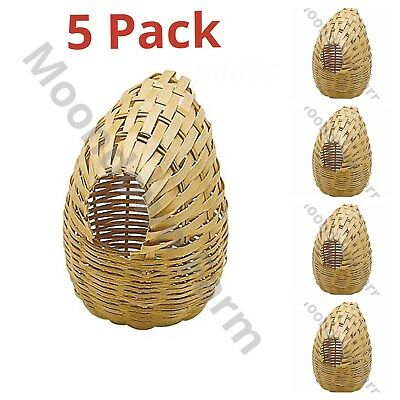 5 x Large Finch Nest Box Wicker With Hooks For Exotic Finches 15 x 11 x 11
