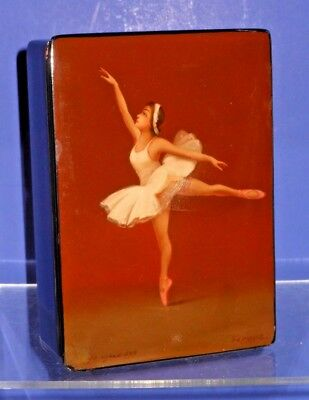 Outstanding Vintage Russian Lacquer Painted Box w/ Ballerina - Artist Signed