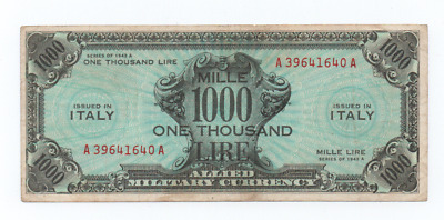 Banconota 1000 Am Lire Bilingue Occupazione Americana In Italia Decr 1943  Bb++