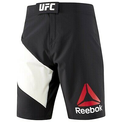 [B39677] New Men's REEBOK UFC FIGHTER KIT OCTAGON SHORT - Black Chalk