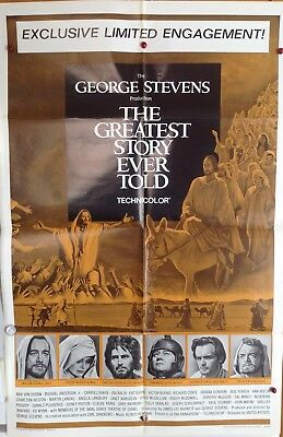 "Original Movie Poster Folded 1965 ""the Greatest Story Ever Told"" Max Von Sidow"
