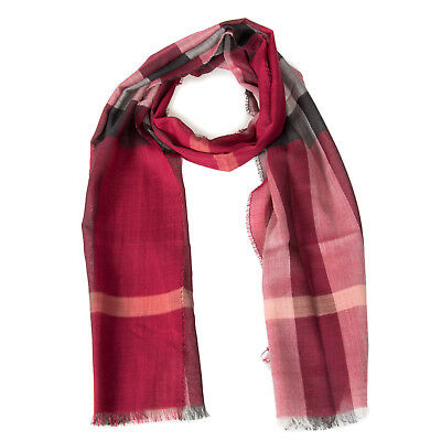 Lightweight Check Wool and Silk Scarf | Crimson Red